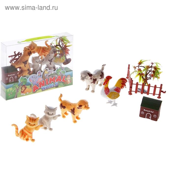 """Набор животных """"Домашние животные"""", с аксессуарами (5 штук)"""