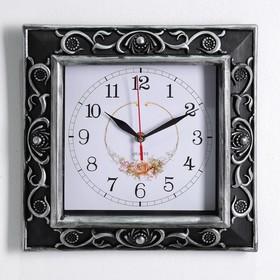"Wall clock, series: Classic, ""Georgina"", silver, 30x30 cm"