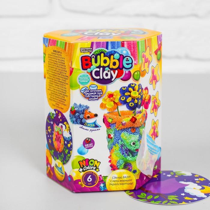 "Набор 3в1 ""ВАЗА BUBBLE CLAY"" слепи вазу, магнит, картину с шариковым пластилином  BBC-V-04"