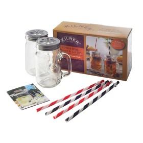 Подарочный набор Kilner из 2 банок с ручками и 4 трубочек