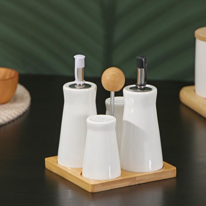 "Set for spices ""Estet"", 4-piece: salt shaker, pepper pot, 2 gravy boat, on a wooden stand"