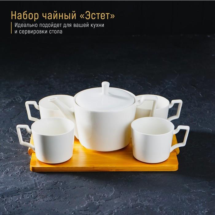 """Set tea """"Estet"""", 5 items: kettle 800 ml, 4 mugs 220 ml, on a wooden stand"""