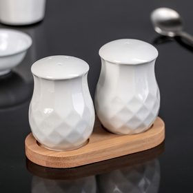"""Set for spices """"Estet"""", 2 PCs, on a wooden stand"""