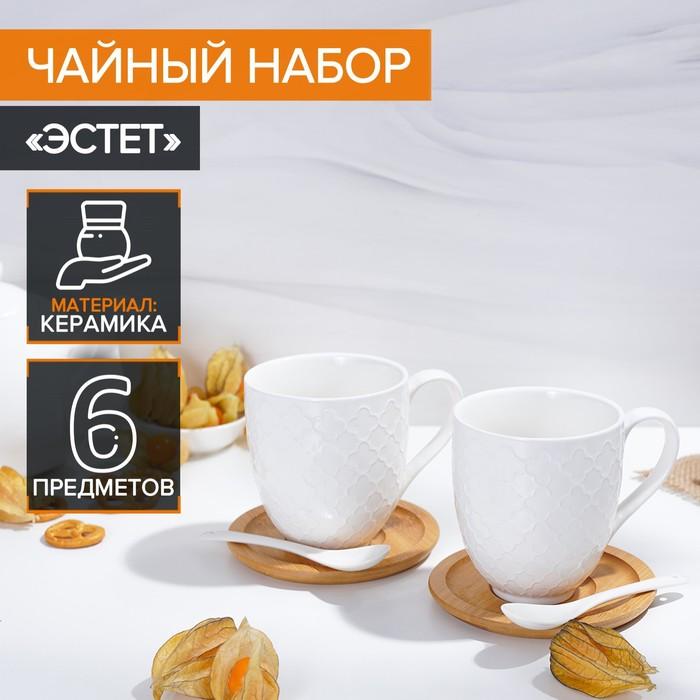 "Set tea ""Estet"", 6 items: 2 cups 350 ml, 2 wooden saucers, 2 spoons"