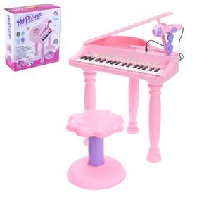 Пианино «Розовая мечта» с микрофоном и стульчиком, световые и звуковые эффекты