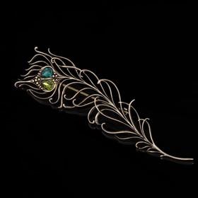 Брошь 'Эндель', цвет зелёный в бронзе Ош