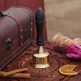 "Bell brass handle wood ""Royal"" 6. 5x6. 5x14 cm"
