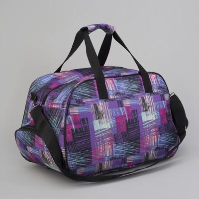 Сумка дорожная, 1 отдел, 2 наружных кармана, длинный ремень, цвет фиолетовый