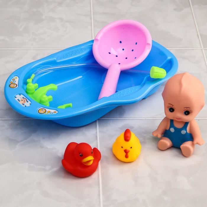Игрушки для ванной, набор «Пупс. Купание» - фото 105534657