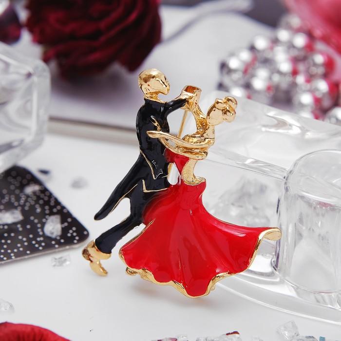 """Брошь спортивная """"Танцоры"""" танго, цвет красно-черный в золоте"""