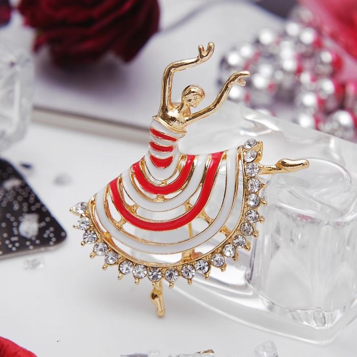 """Брошь """"Балерина"""" в полосатом платье, цвет красно-белый в золоте"""