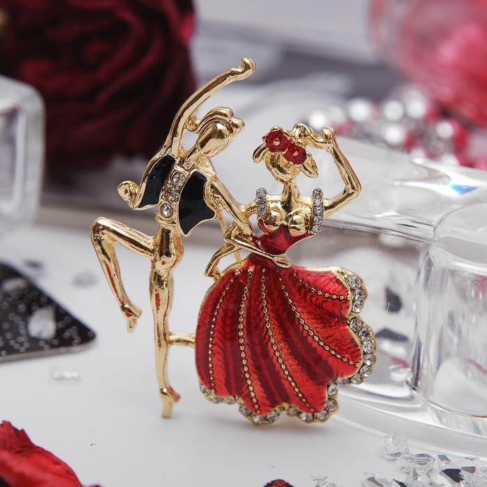 """Брошь """"Танцоры"""" фламенко, цвет красно-чёрный в золоте"""