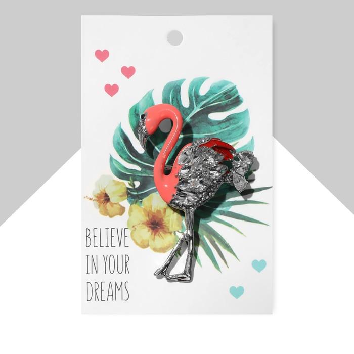 """Брошь """"Фламинго"""" с искристым крылом, цвет бело-розовый в серебре"""
