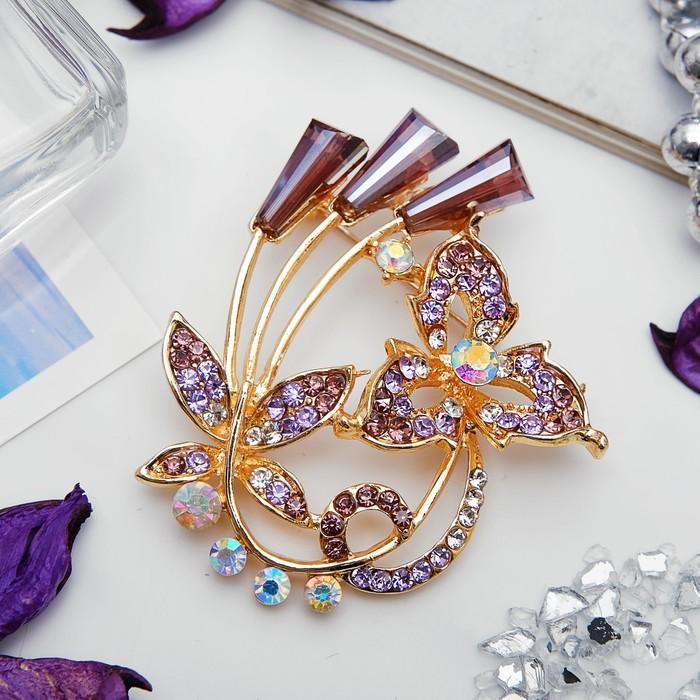 """Брошь """"Бабочка"""" с лучиками, цвет фиолетовый в золоте"""