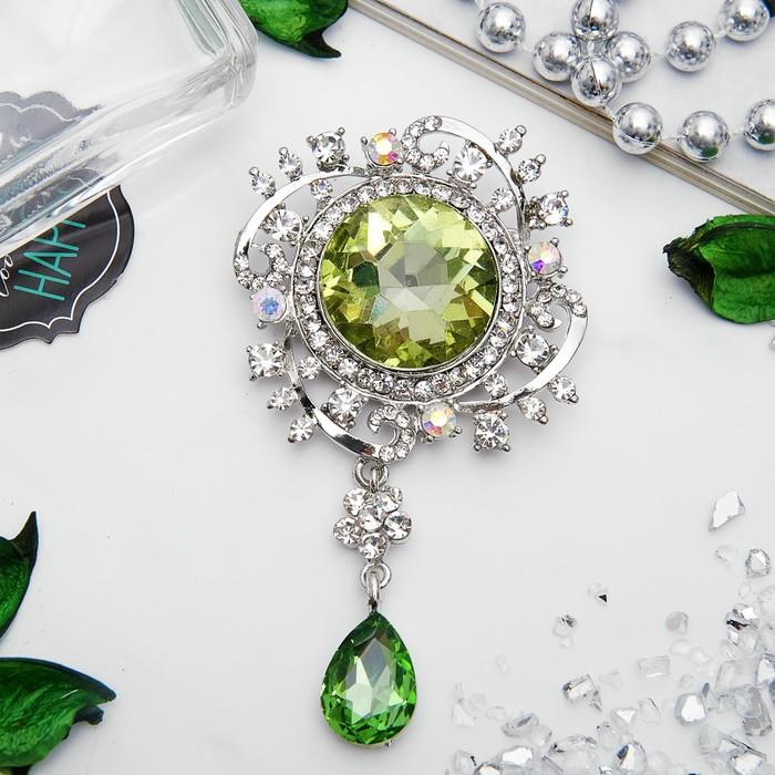 """Брошь """"Императрица"""" круг, цвет бело-зеленый в серебре"""