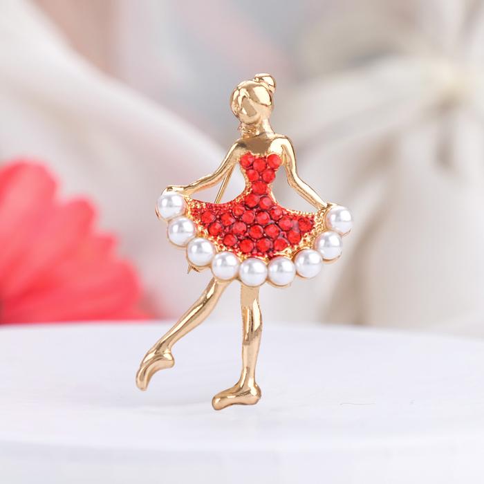 """Брошь """"Балеринка"""", цвет красно-белый в золоте"""