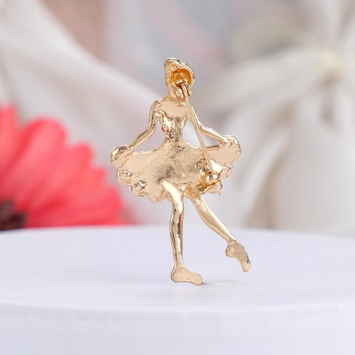 """Брошь """"Балеринка"""", цвет красно-белый в золоте - фото 298286531"""