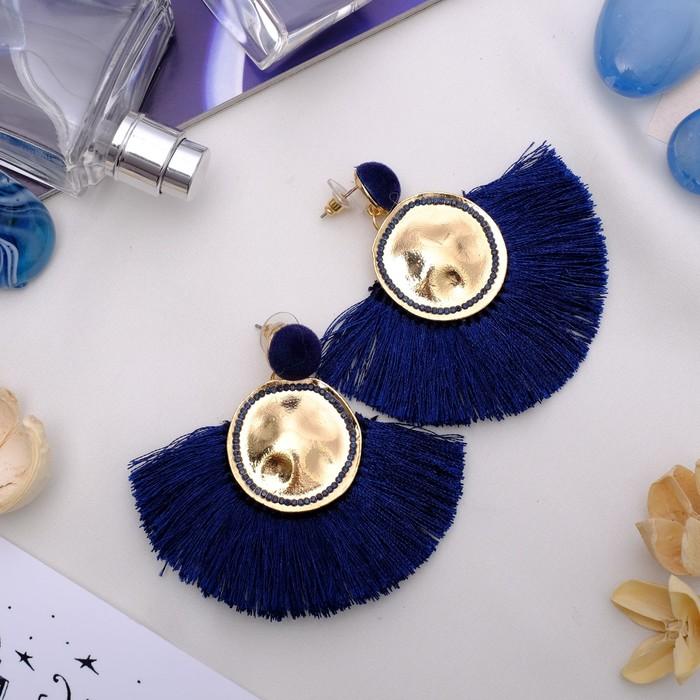 "Серьги ""Кисти"" арабика, цвет синий в золоте - фото 798080968"