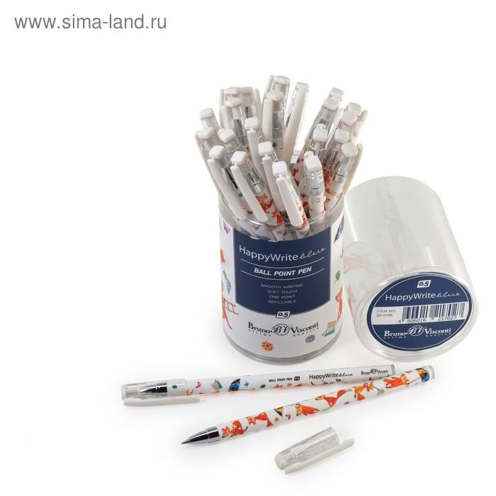 """Ручка шариковая HappyWrite """"Сказочный лис"""", узел 0.5 мм, стержень синий"""