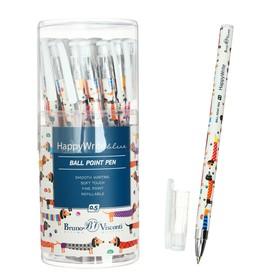 Ручка шариковая HappyWrite «Таксы», узел 0.5 мм, синие чернила, матовый корпус Silk Touch