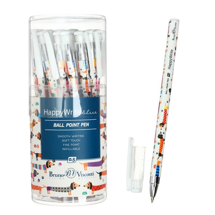 """Ручка шариковая BrunoVisconti HappyWrite """"Таксы"""" 0.5 мм, стержень синий"""