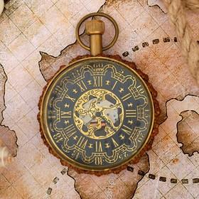 """Clock mechanical brass """"Kingdom"""" 5,5x5,5x8 cm"""