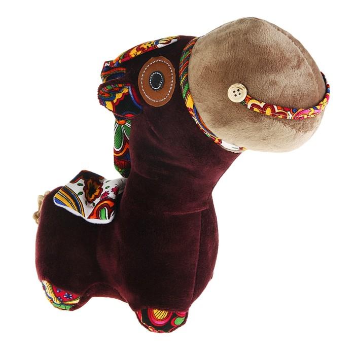 """Мягкая игрушка """"Лошадка"""" коричневая цветная грива"""