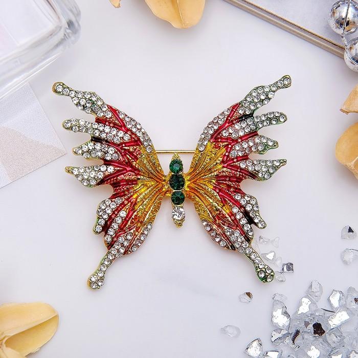 """Брошь """"Бабочка"""" монарх, цветная в золоте"""
