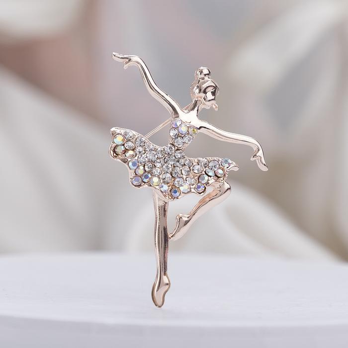 """Брошь """"Балерина"""" аллонже, цвет радужный в розовом золоте - фото 377044320"""