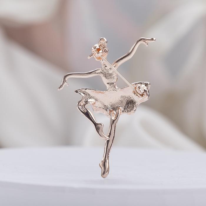 """Брошь """"Балерина"""" аллонже, цвет радужный в розовом золоте - фото 377044321"""