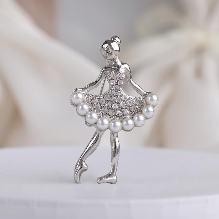 """Брошь """"Балеринка"""", цвет белый в серебре"""