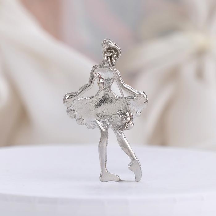"""Брошь """"Балеринка"""", цвет белый в серебре - фото 304293625"""