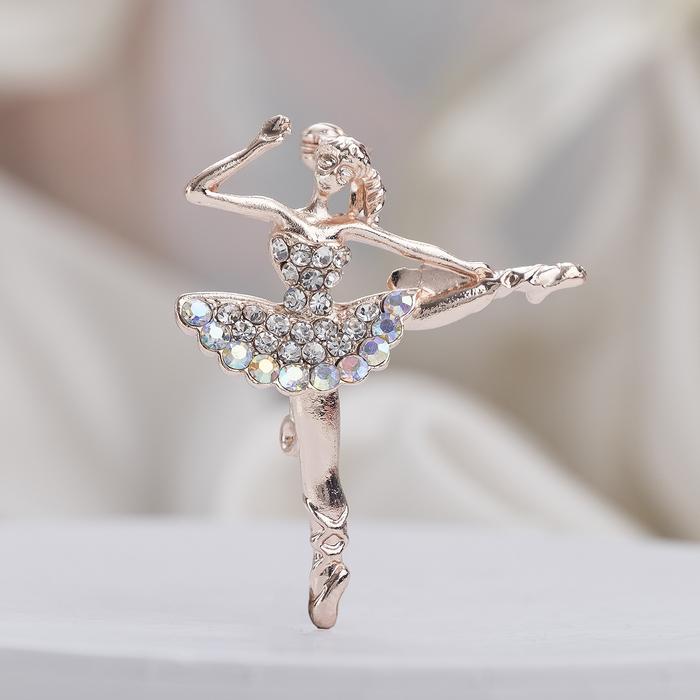 """Брошь """"Балерина"""" с прической, цвет радужный в розовом золоте"""