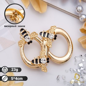 """Brooch """"Bee"""" infinity, color black and yellow gold"""