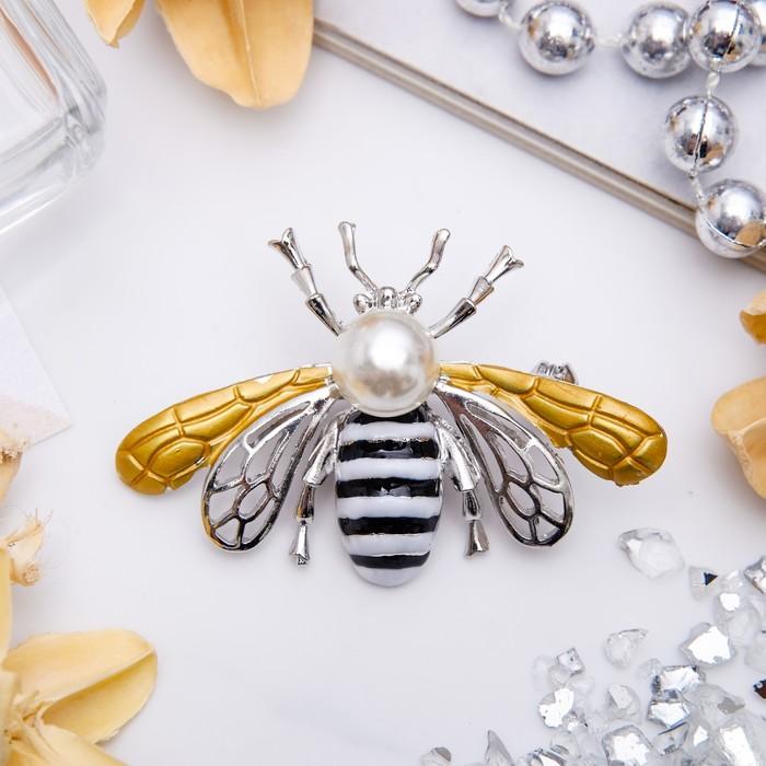 """Брошь """"Пчела"""" крупная, цвет черно-белый в серебре"""