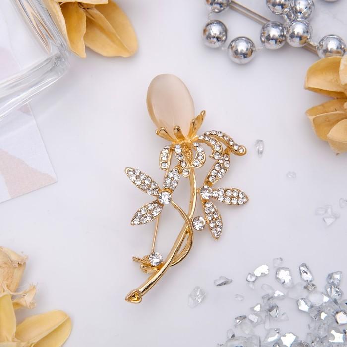 """Брошь """"Цветок"""" одуванчик, цвет бело-бежевый в золоте"""