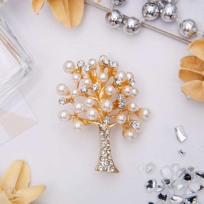 """Брошь """"Дерево заснеженное"""" с жемчугом, цвет белый в золоте"""