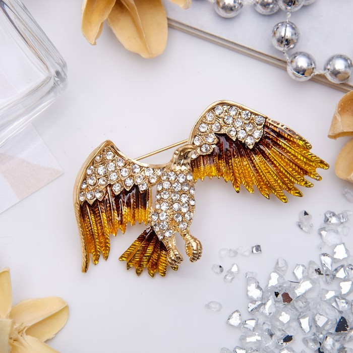 """Брошь """"Орёл"""" хищник, цвет коричнево-белый в золоте"""