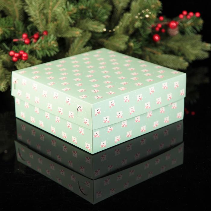 """Коробка картонная на 9 капкейков """"Медвежата"""", 25 х 25 х 10 см"""
