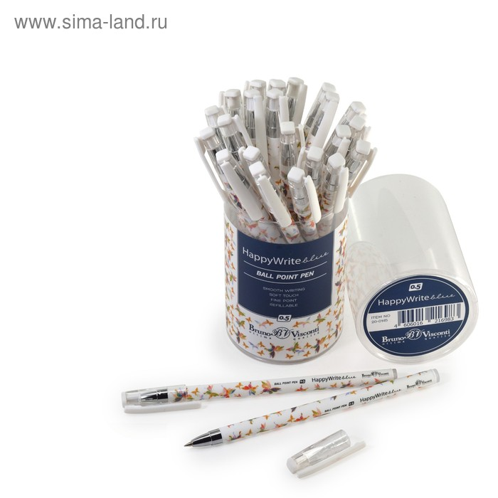 "Ручка шариковая BrunoVisconti HappyWrite ""Бабочки"" 0.5 мм, стержень синий"