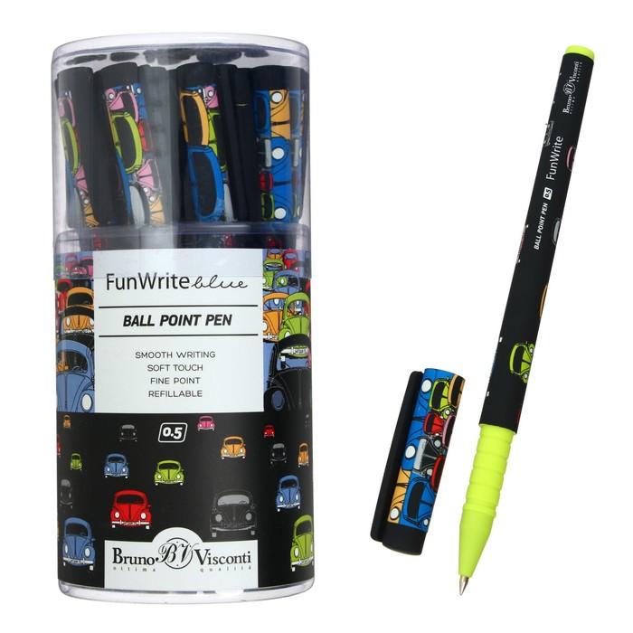 """Ручка шариковая BrunoVisconti FunWrite """"Цветные автомобили"""", 0.5 мм, стержень синий"""