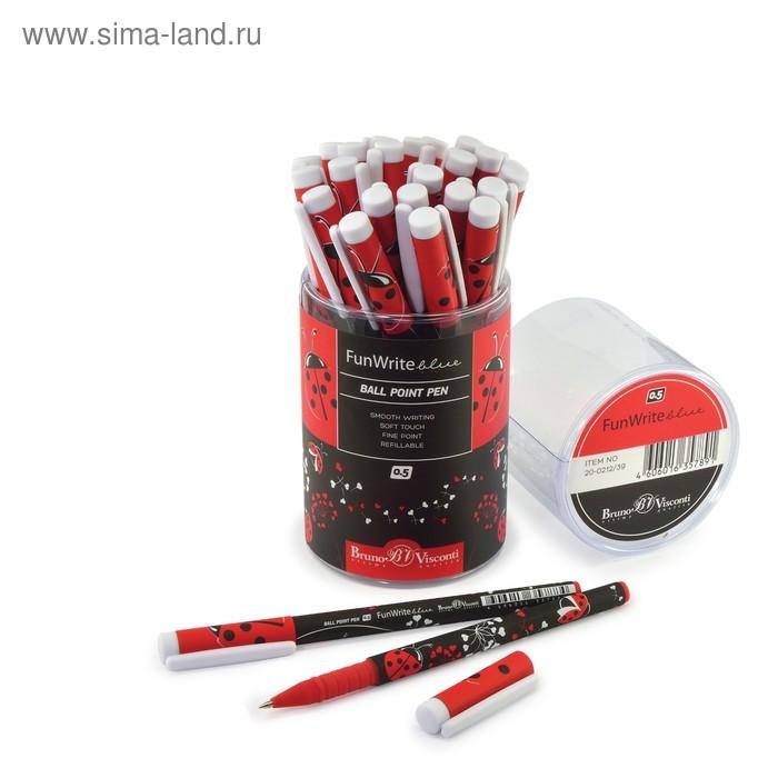 """Ручка шариковая FunWrite """"Божьи коровки"""", узел 0.5 мм, стержень синий"""