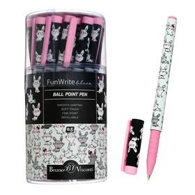Ручка шариковая FunWrite «Очаровательные зайчики», узел 0.5 мм, синие чернила, матовый корпус Silk Touch
