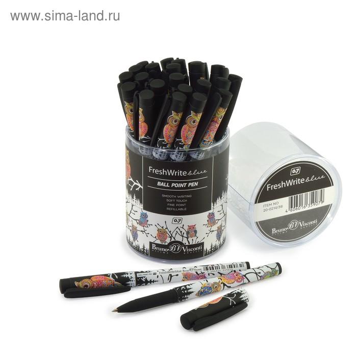"""Ручка шариковая BrunoVisconti FreshWrite """"Мультики. Золотая сова"""", 07мм, стержень синий"""