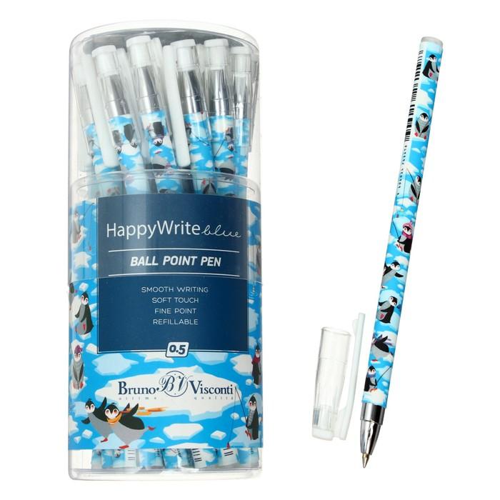"Ручка шариковая BrunoVisconti HappyWrite ""Пингвины"" 0.5 мм, стержень синий"