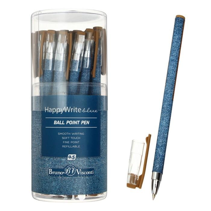 """Ручка шариковая BrunoVisconti HappyWrite """"Джинса"""" 0.5 мм, стержень синий"""