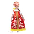 """Русский народный костюм """"Узоры"""", платье с кокеткой, кокошник, цвет красный, р-р 30, рост 110-116 см"""