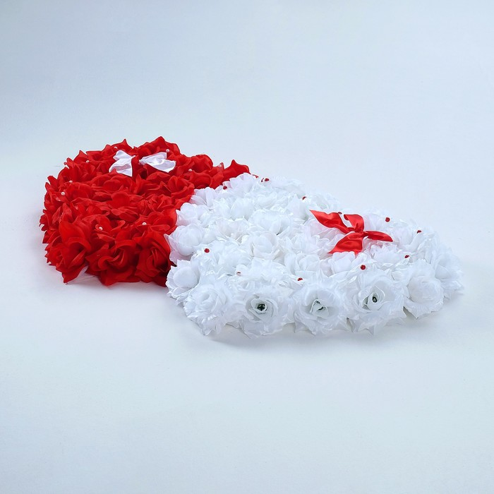"Украшение на авто ""Сердца"", 52х90х5 см, бело-красное - фото 1555149"