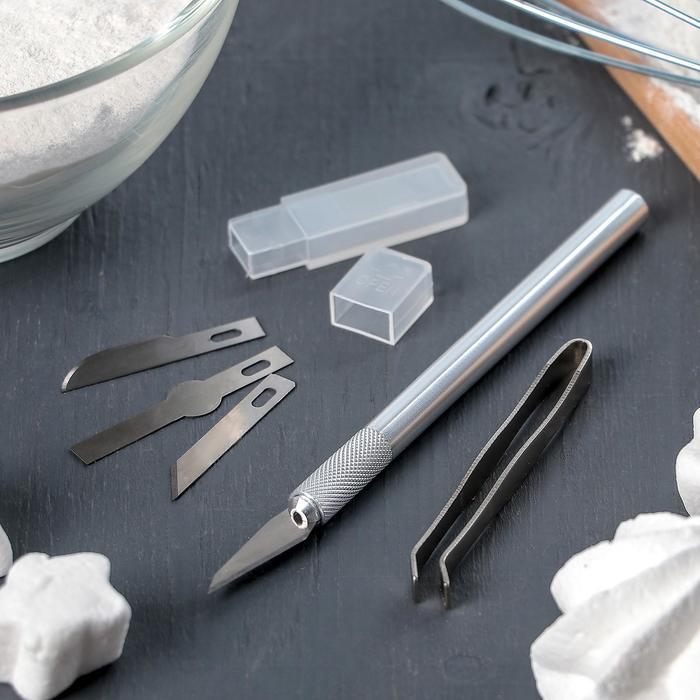 Набор инструментов для украшения кондитерских изделий: держатель, 4 насадки, щипцы - фото 693423