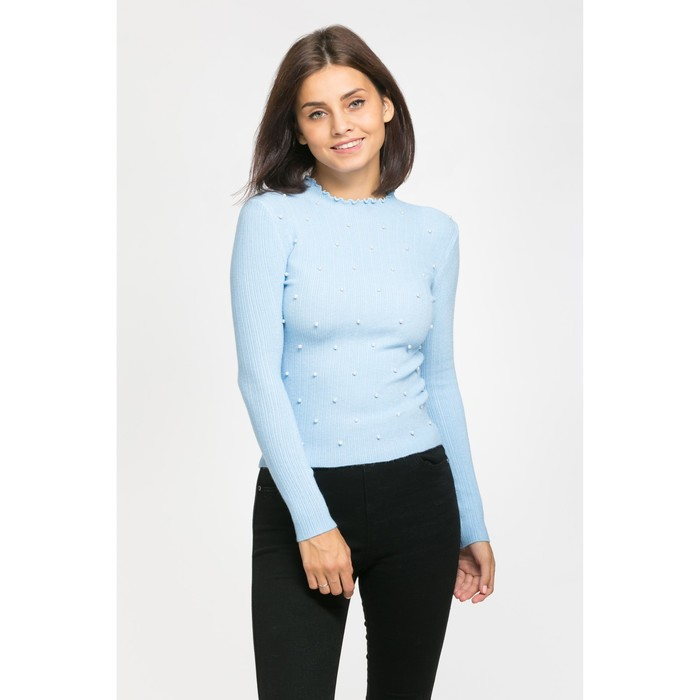 Пуловер с бусинами, размер 44, цвет голубой